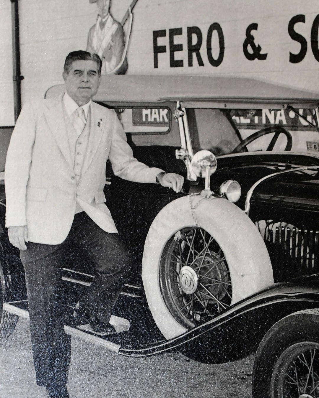Black and white image of original Mr. Fero who opened Fero Insurance